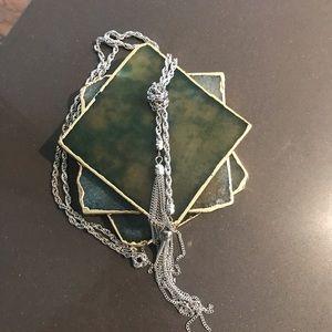 Silver lariat tassel necklace